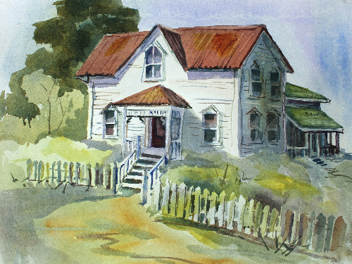 Marysville Small House Watercolour ©Barb Carr