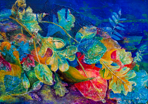 Leafin an Imprint Acrylic on Watercolour Paper by J. Gazo-McKim ©2010