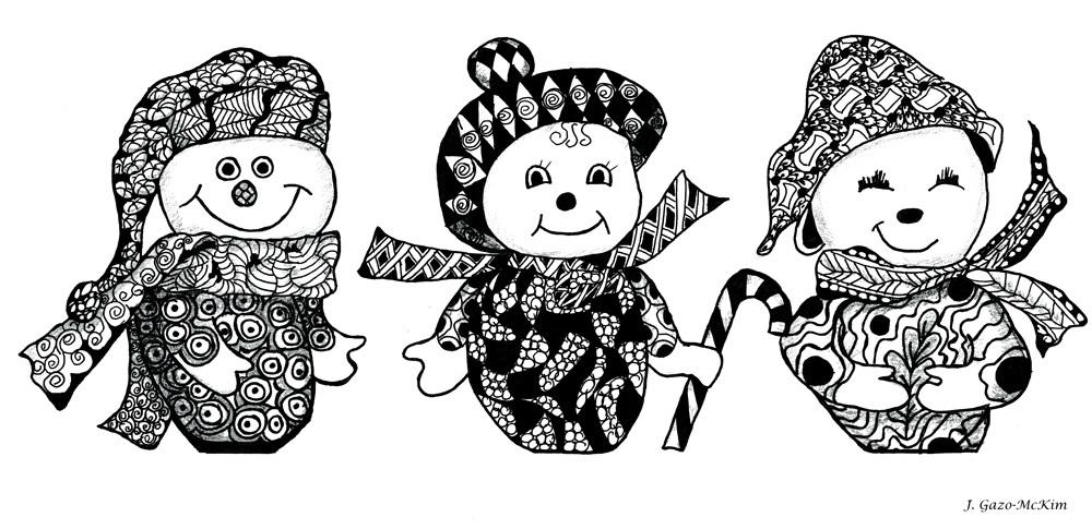 We Three Glee Pen and Ink by J. Gazo-McKim ©2013