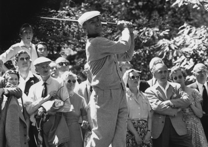 While in attendance at the 1946 PGA Championship, Jerry wandered onto the tee area while would be champion Ben Hogan swung away, ultimately causing the amputation of his right middle finger.