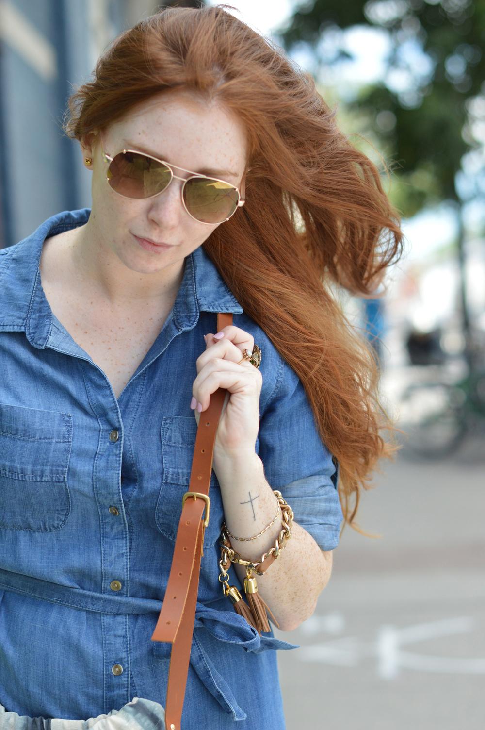 Hands & Teeth bag, Brave Leather bracelet, vintage rings