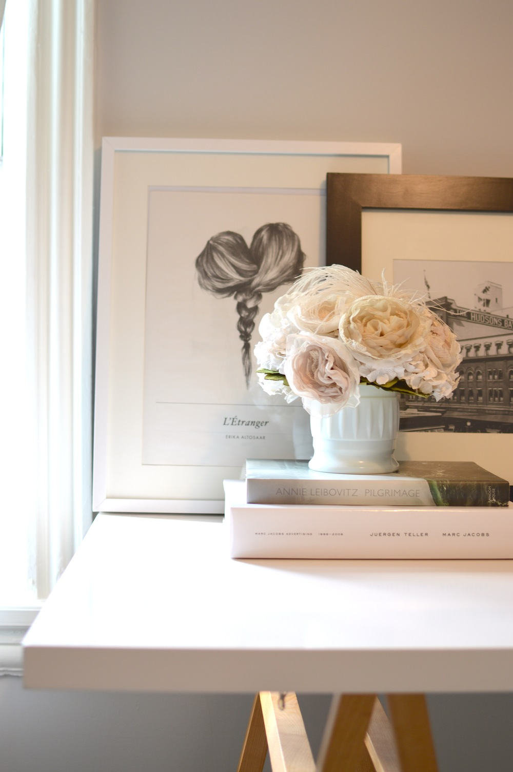 Art by Erika Altosaar, print from Hudson's Bay Company book, flowers by Alternative Blooms, desk from West Elm