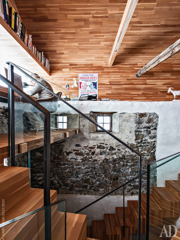 The office loft, complete with mountain views and one of the staircases Otmar built himself.  PHOTO: CHRISTIAN Shaulina