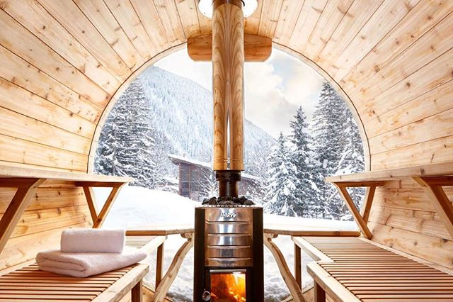 Winter views from a wood-fired sauna. Best way to keep warm via @marmottemountainchamonix #upknorth #getoutdoors