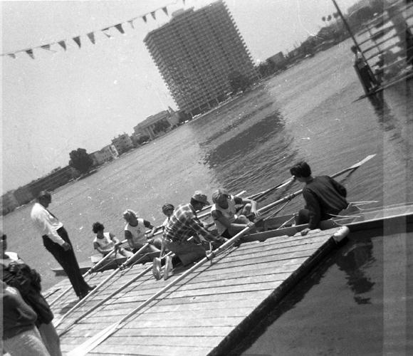1967 Lake Merritt Quad  (L-R) (bow) Evelyn Bergman, Penny Gibson Henwood, Fay Bardman Donovan, (stroke) Nancy Farrell