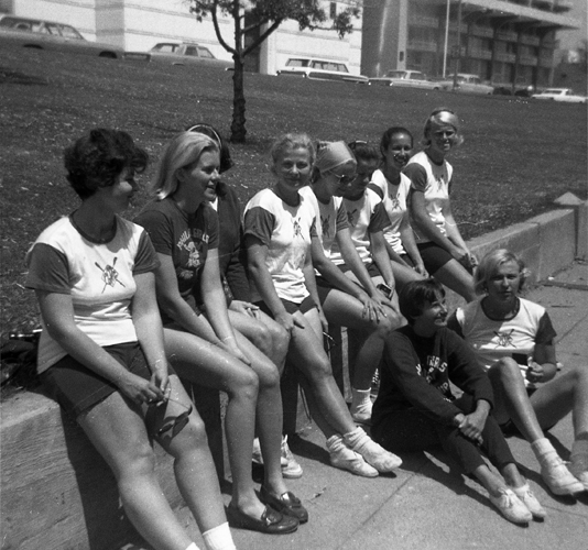 1967 Lake Merritt  (L-R) Evelyn Bergman, Jinx Becker, Sophie Kozak, Janice Saudargas, unknown, Barb DePena, Penny Gibson. (Seated) Marge Pollack, Nancy Farrell.