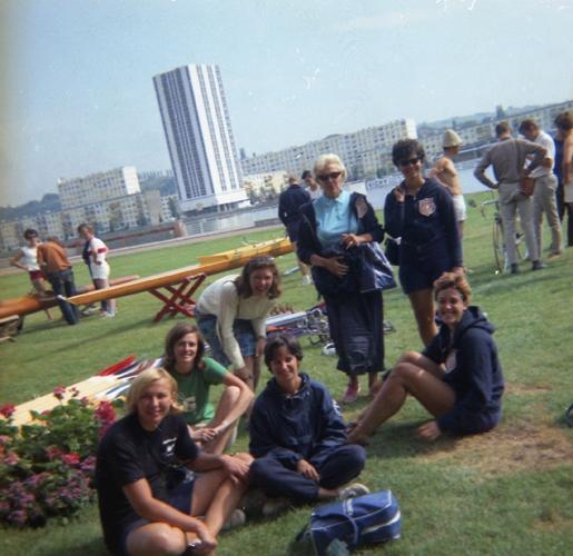 1967 Vichy?  (L-R) Nancy Farrell, Elizabeth Bergman, Catherine Sader Sr., Evelyn Bergman, Marjorie Pollack, Ballheim, Ernestine Bayer Jr.
