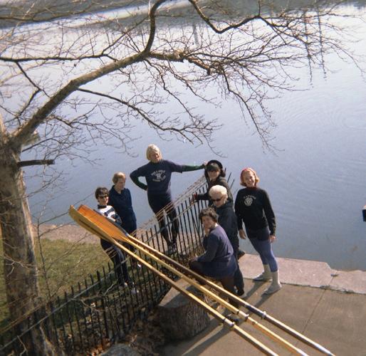 1967 PGRC Dock  (L-R) Marjorie Pollack Ballheim, Sophie Socha, Penny Gibson Henwood, Evelyn Bergman, Ernestine Beyer Sr., Erendschan Hurgenow, Ernestine Beyer Jr.
