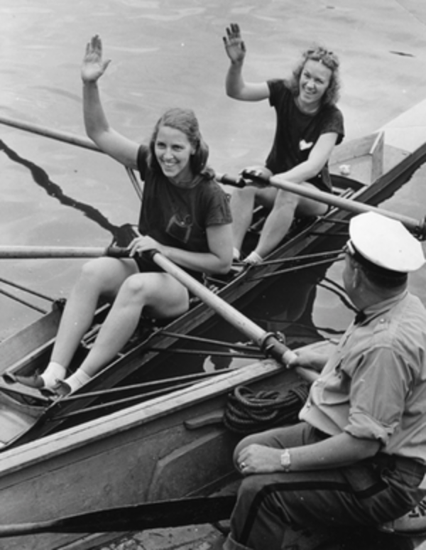 Independence Day Regatta 1st place, 1/2 mile, time 3:09, July 4th, 1940    Lorraine English Schilling (stroke), Stella Stokolowska (bow)