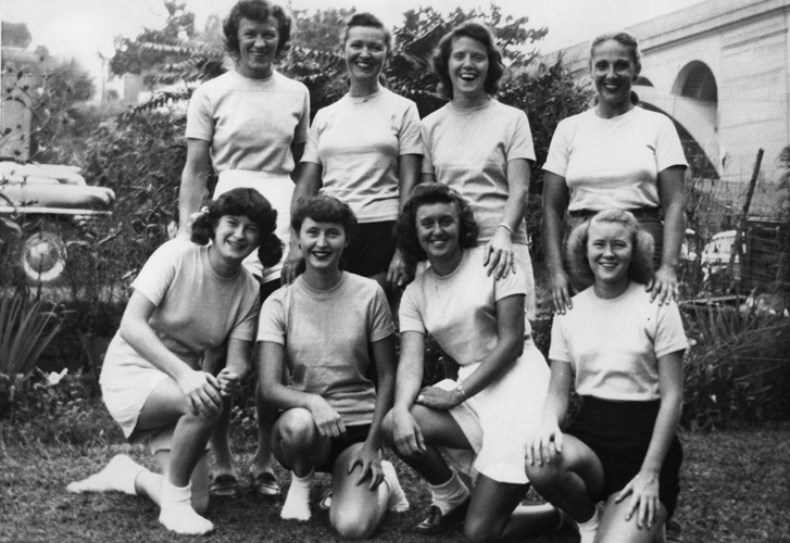 President's Cup Regatta September 6th, 1947  (back row L-R)  Stella Sokolowska Peters, Ruth Robinhold,Harriet Mongan, Ernestine Bayer  (front row L-R)  Lucy Finnegan, Betty McDevitt, Edna Graff, Doris Warner