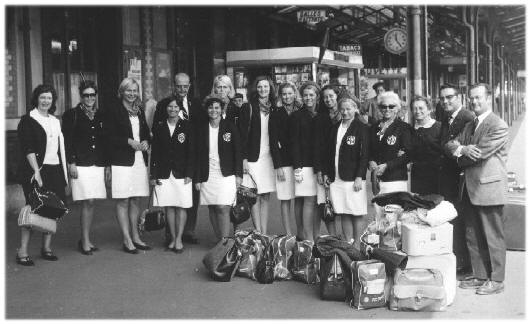 PGRC Women's team arrives in France, 1967