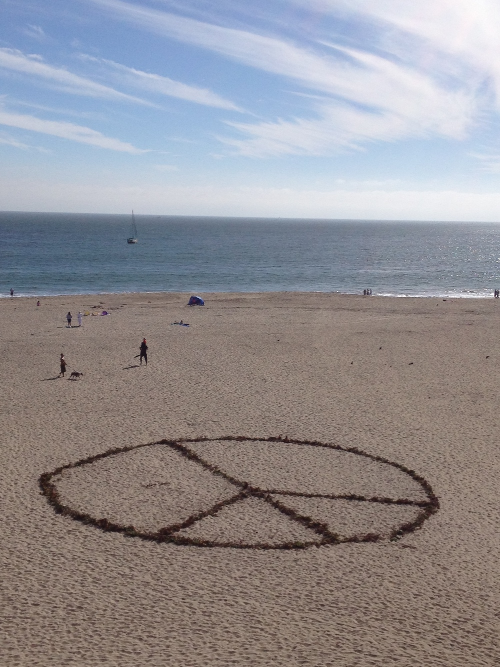 Seaweed Peace sign - Seabright Beach, Santa Cruz CA