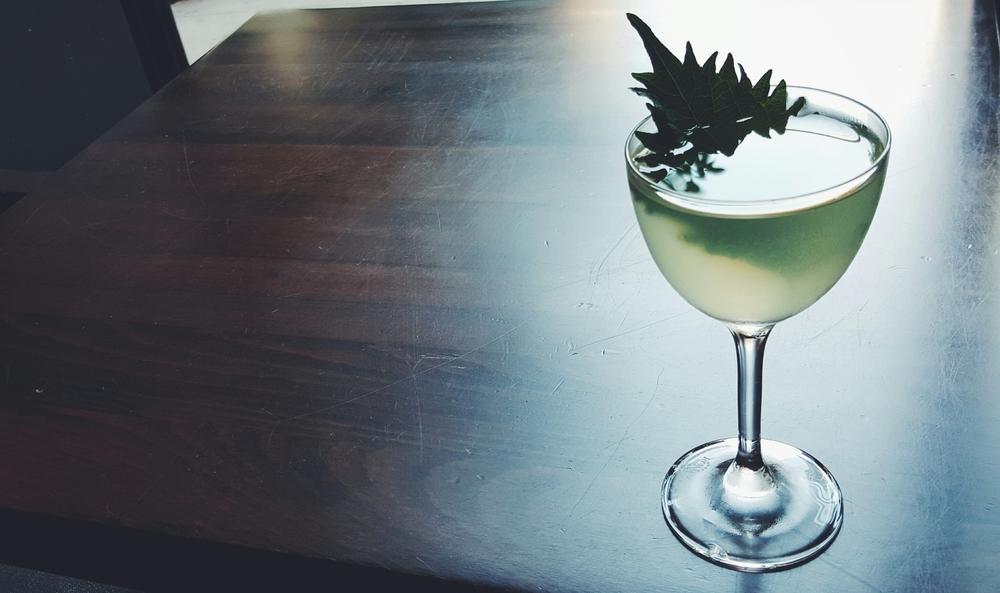 "The ""Far East Side""-Sake, Tequila, Shiso, Elderflower, Lemon & Yuzu Bitters."