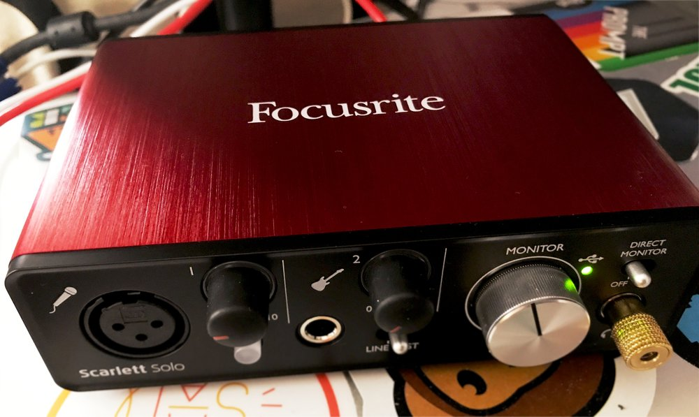 The Focusrite Scarlett Solo Audio Interface. The gain knobs I mention are the black knobs by 1 & 2.