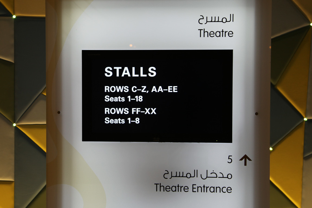 Wayfinding system distributed across the building on electronic displays