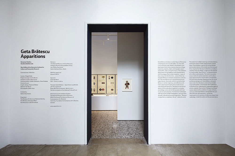 The design of the entrace in the exhibition at the Romanian Pavilion, Giardini della Biennale, Venice.
