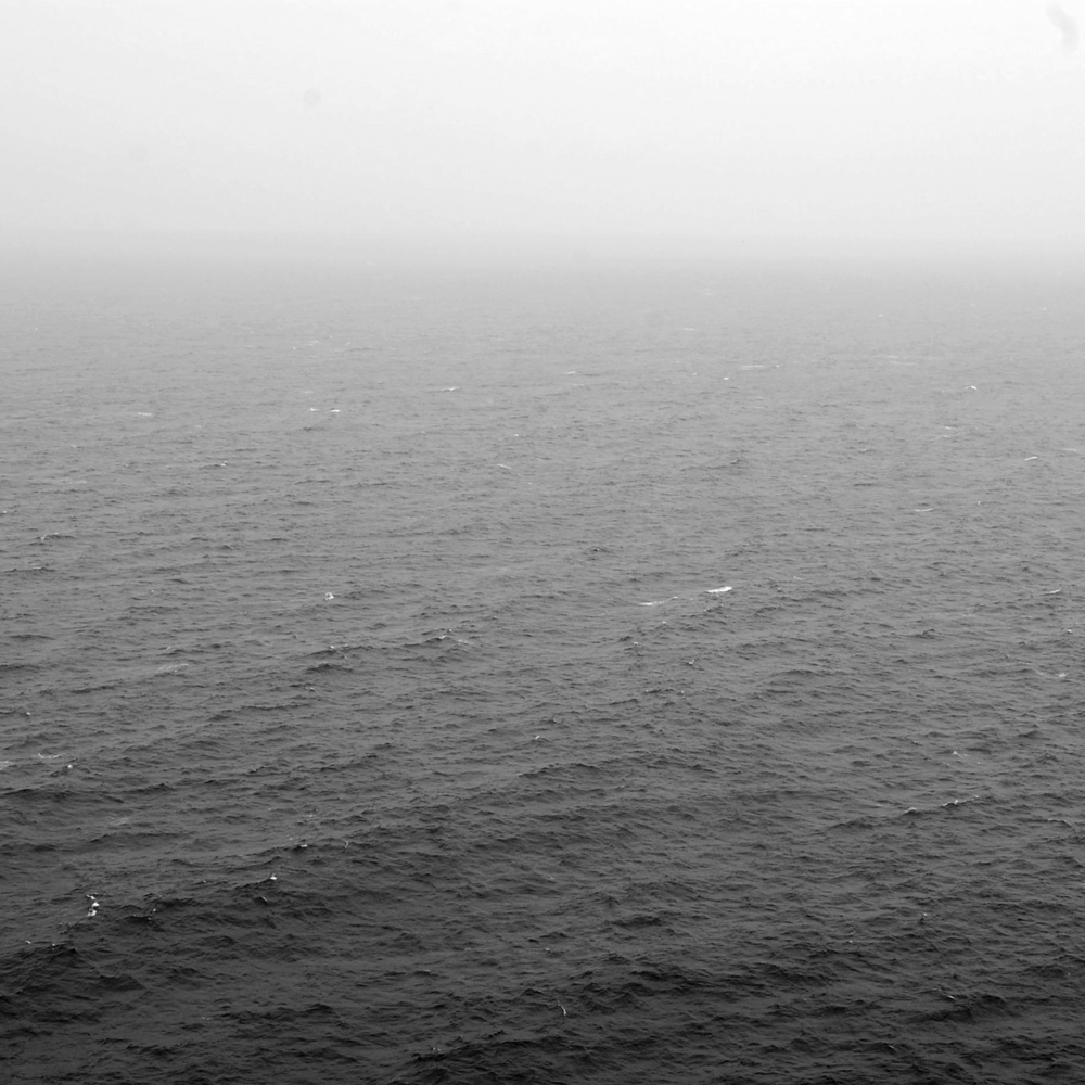 The sea on a foggy day.