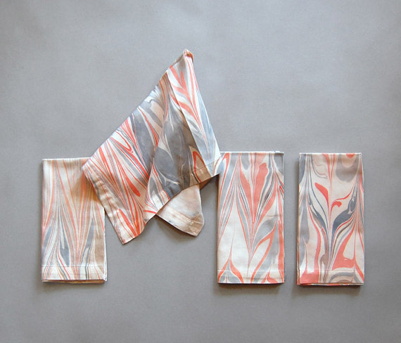 Natalie As Is  Marbled Cotton Napkins