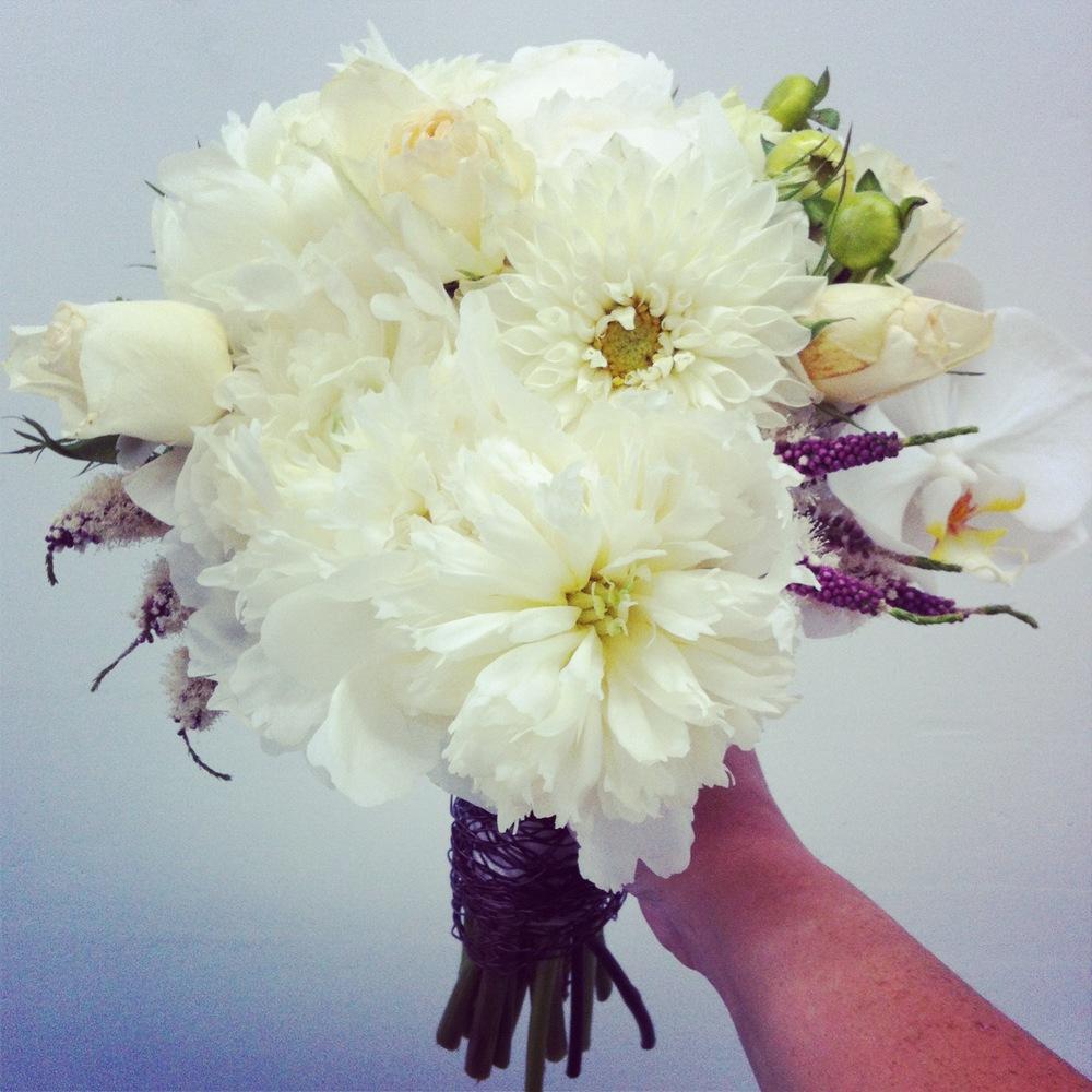 2013-06-01 White Bridal Bouquet Dahlia Lavender Roses.jpg