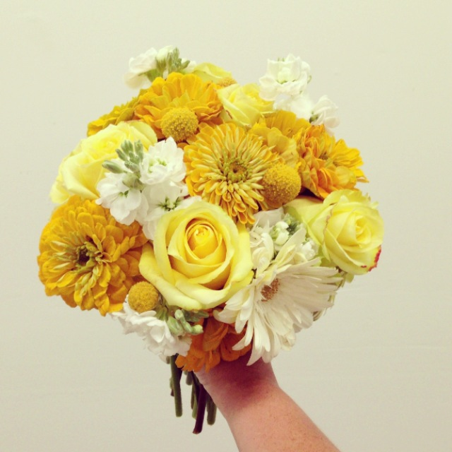 2013-09-06 Yellow Rose Zinnia Wedding Bouquet.jpg
