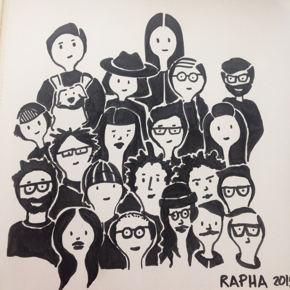 My sketch of the crowd.