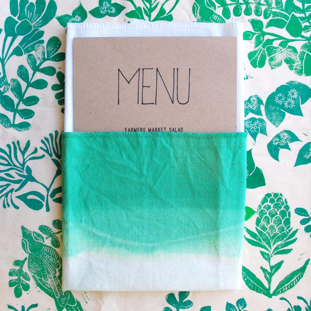 ombre green napkin