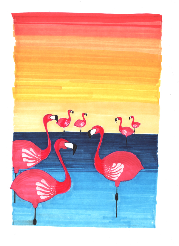 Trait_Flamingos_Sunset_Pen-Ink-Art-9x12.jpg
