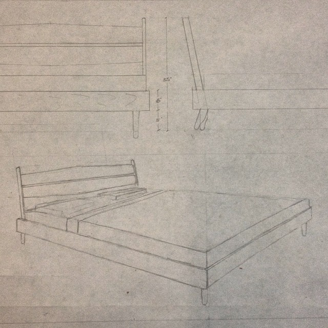 Bed design in the works. #wood #stokesnyc