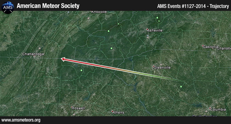 Meteor over Georgia. (Source: American Meteor Society)