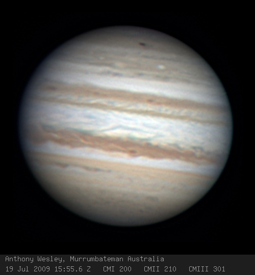 The dark spot at the top of the image is amateur astronomer Anthony Wesley's discovery of the 2009 Jupiter impact. (Source: Anthony Wesley)