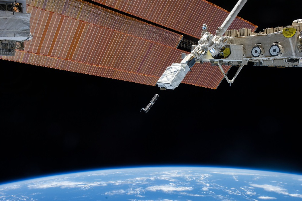 Astronauts on the International Space Station launch two of Planet Labs' remote imaging satellites. Moore's Law lets CubeSats become ever more sophisticated, letting Planet Labs' double-sized (or 2U) CubeSats take pictures of Earth as detailed as multi-ton Cold War-era intelligence satellites. Source: Nasa