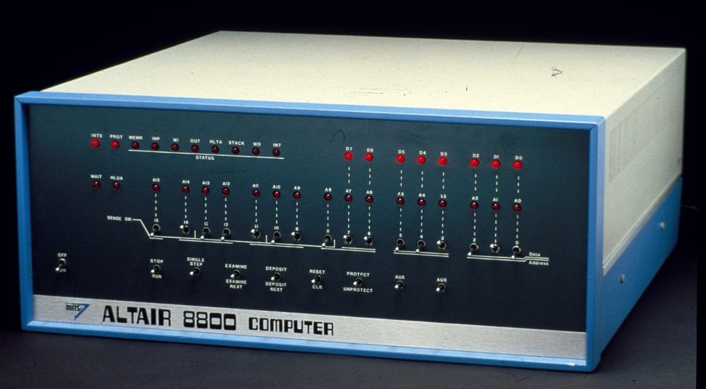 Sold as a $395 kit to electronics enthusiasts in 1974, the Altair 8800 was the world's first personal computer. Source: Smithsonian National Museum of American History