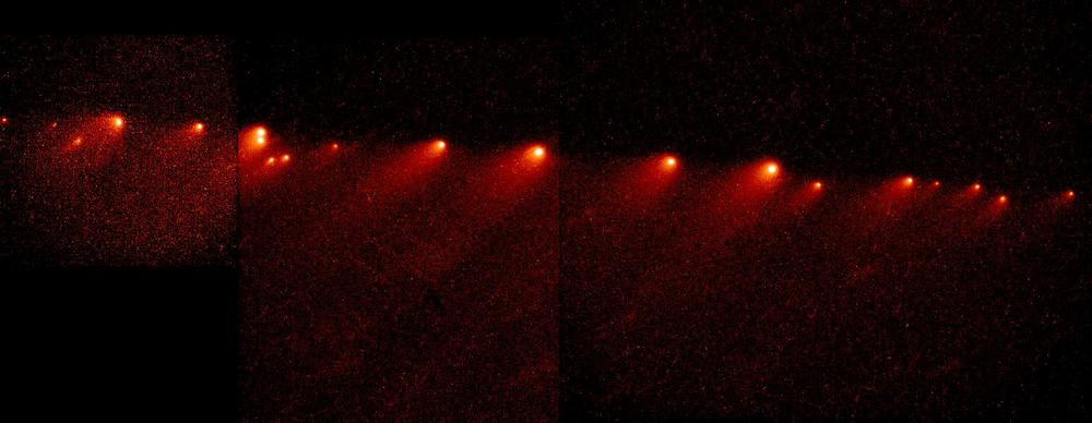 Composite image from the Hubble Space Telescope showing how the brightest region of Comet Shoemaker-Levy 9 changed over time.  Credit: Dr. Hal Weaver and T. Ed Smith (STScI), and NASA Source:  hubblesite.org