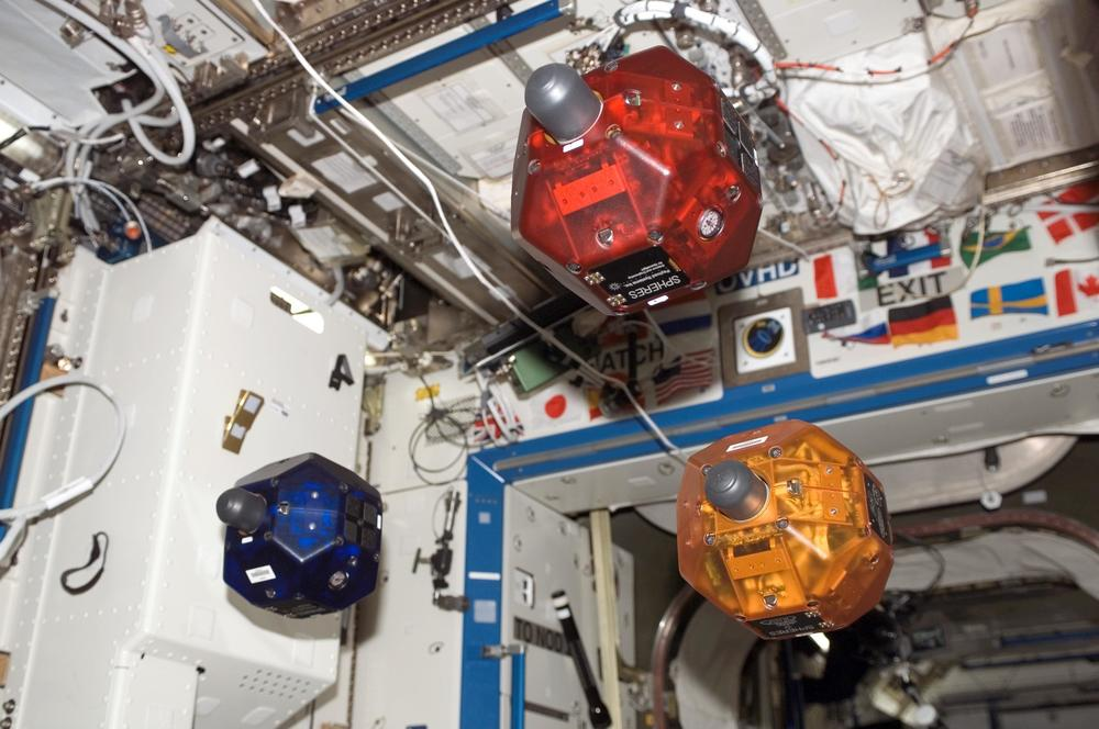 Scientists at the Massachusetts Institute of Technology designed the Spheres robots to test spacecraft maneuvering techniques on the International Space Station. The Spheres Zero Robotics Tournaments lets student write their own code to control the robots.   Source: Nasa