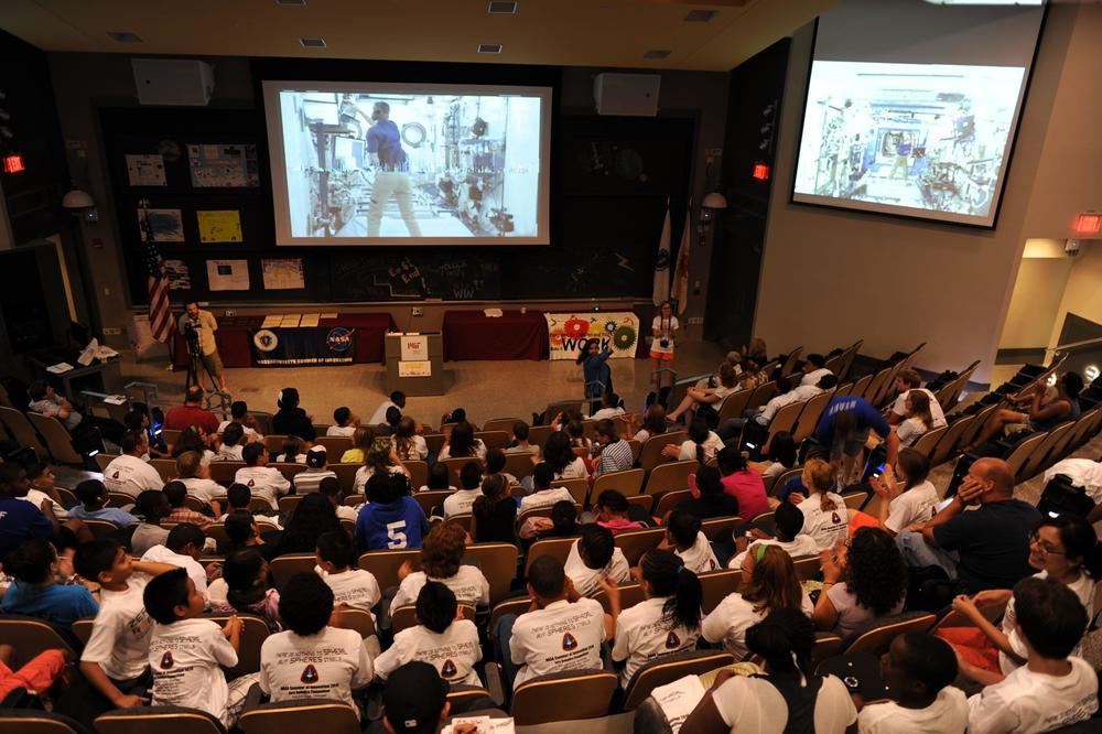 MIT hosts the US finals. A live feed from the International Space Station lets students watch the Spheres robots follow their commands and fly around the station.   Source: Nasa