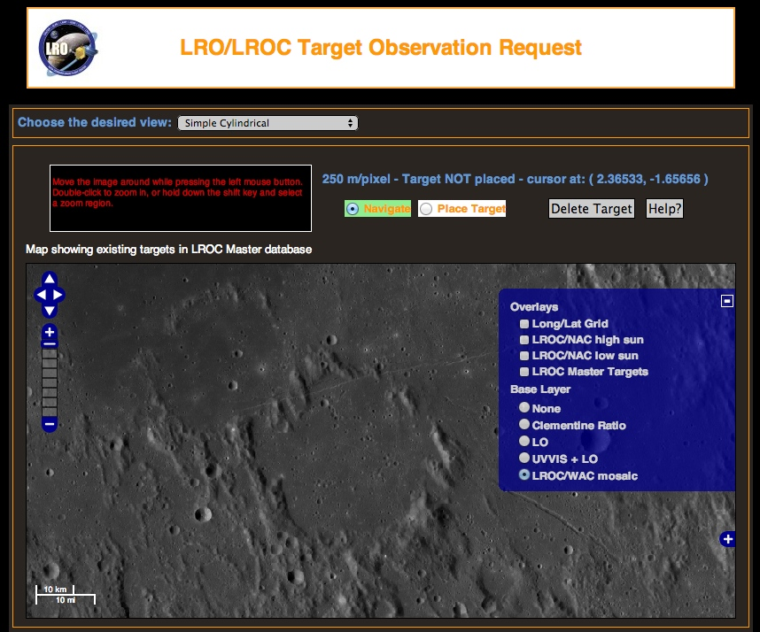 The Lunar Reconnaissance Orbiter's Targeting Tool lets you find someplace interesting on the Moon for your custom space photo. Credit: Nasa/GSFC/Arizona State University