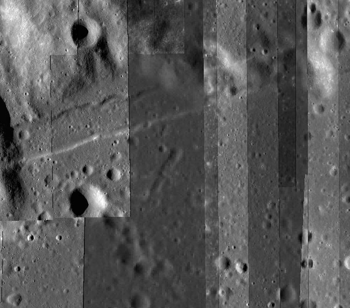 This image from the LRO's Act-React Quickmap shows the high-resolution stripes where the Lroc has already imaged the Moon. The darker, fuzzier stripe in the center is where I've asked for a new picture. Take a closer look on the Quickmap. Credit: Nasa/GSFC/Arizona State University