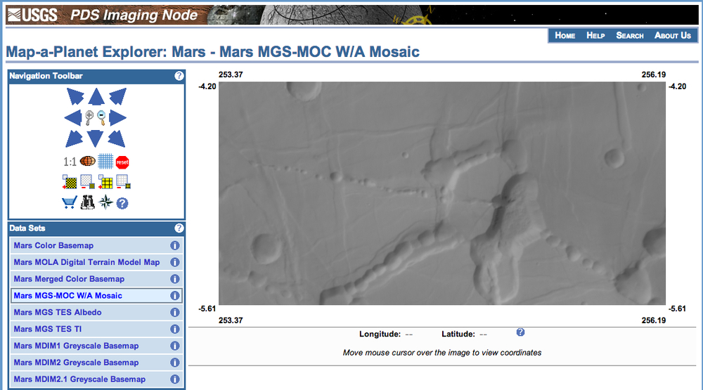 This image from the USGS Map-a-Planet Explorer gives a wider view of the region around my HiWish request. The Map-a-Planet image uses data from the Mars Global Surveyor. Credit: NASA/JPL/Malin Space Science Systems