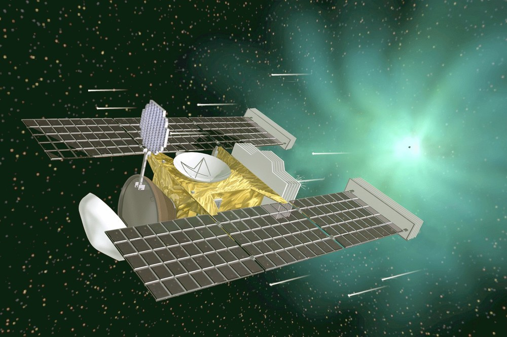 Artist's concept of the Stardust probe during its rendezvous with the comet Wild 2.   Credit: Nasa/JPL-Caltech