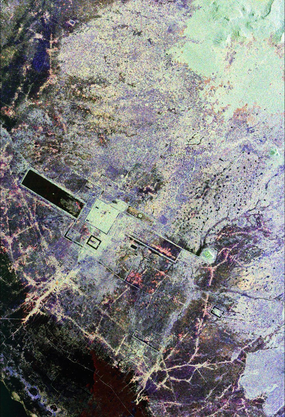 This space radar image of Cambodia's temples in Angkor helped uncover ancient canals and previously unknown structures hidden beneath the forest canopy.   Credit: Nasa/JPL-Caltech