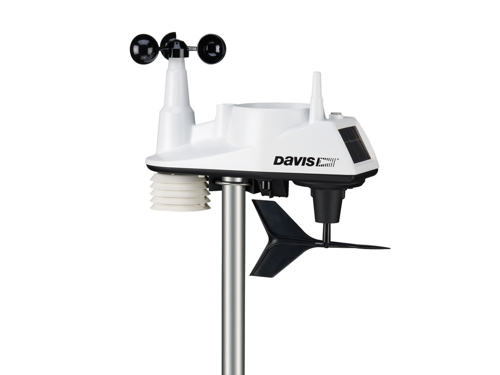 A personal weather station like this Vantage Vue 6250 [Amazon link] measures temperature, rainfall, windspeed, and other weather conditions and transmits the measurements wirelessly to a console in your home. Source: Davis Instruments Vanage Vue