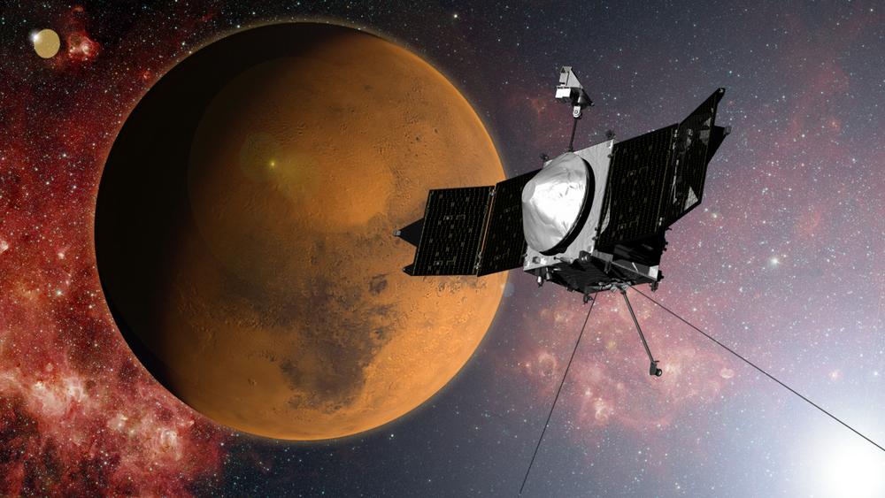 An artist's concept of Maven orbiting Mars.Credit: Nasa/GSFC