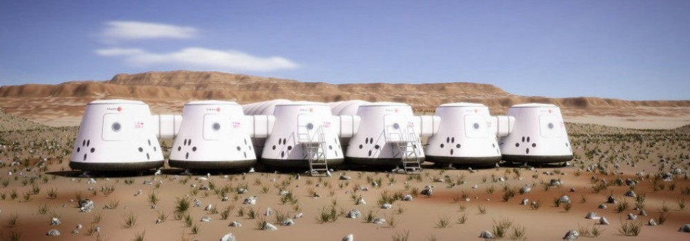 An artist's concept of the Simulation Outpost Alpha. Mars One will build analog habitation modules and greenhouses in a desert environment where the settler candidates, isolated from the rest of the world, will test operations and technology.  Credit: Mars One