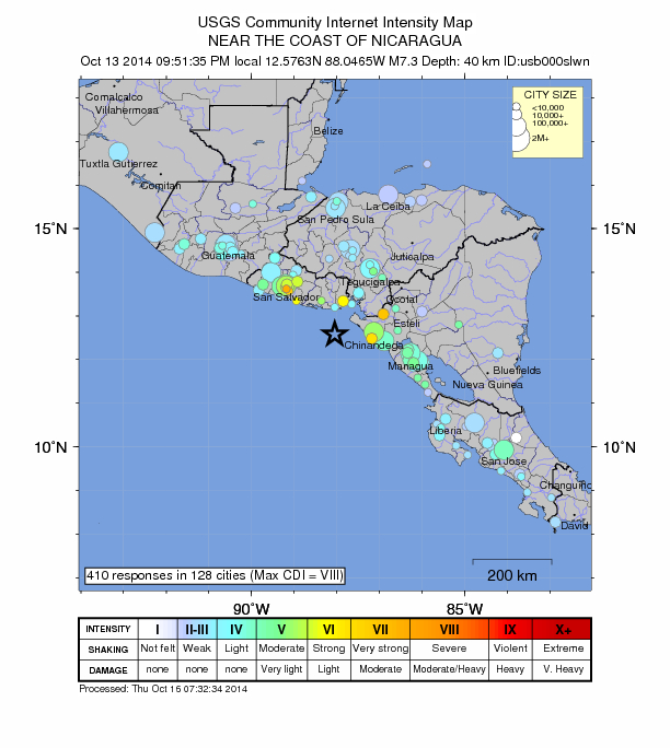The USGS Did You Feel It program takes public reports from around the world. Almost 400 reports  arrived within 2 hours of  this October 13, magnitude 7.5, earthquake in Nicaragua.  Source: USGS Did You Feel It