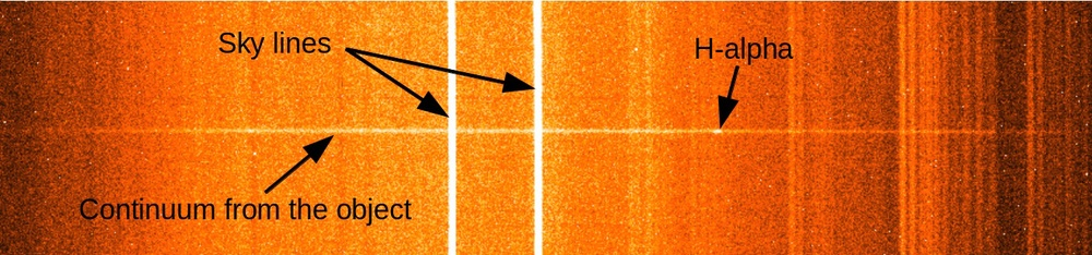 When the Gaia Space Telescope spotted a sudden brightening in space, scientists with the Liverpool Telescope obtained this spectrum (horizontal line) of the binary system that produced it. One of the stars is a white dwarf that rips material from its companion star. When it reaches critical mass the accreted material fuses and explodes from the white dwarf.  Source:  Liverpool Telescope