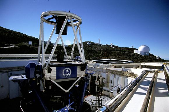 The Liverpool Telescope sits atop an extinct volcano in the Canary Islands as part of the Observatorio del Roque de los Muchachos complex. Students across the UK and Ireland use its 2-meter mirror to enhance their science education.  Source:  Liverpool John Moores University