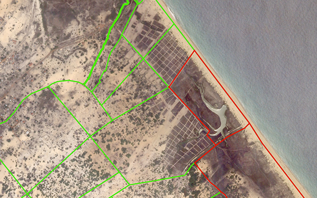 Settlement in a former minefield.  Source:  Skybox Imaging