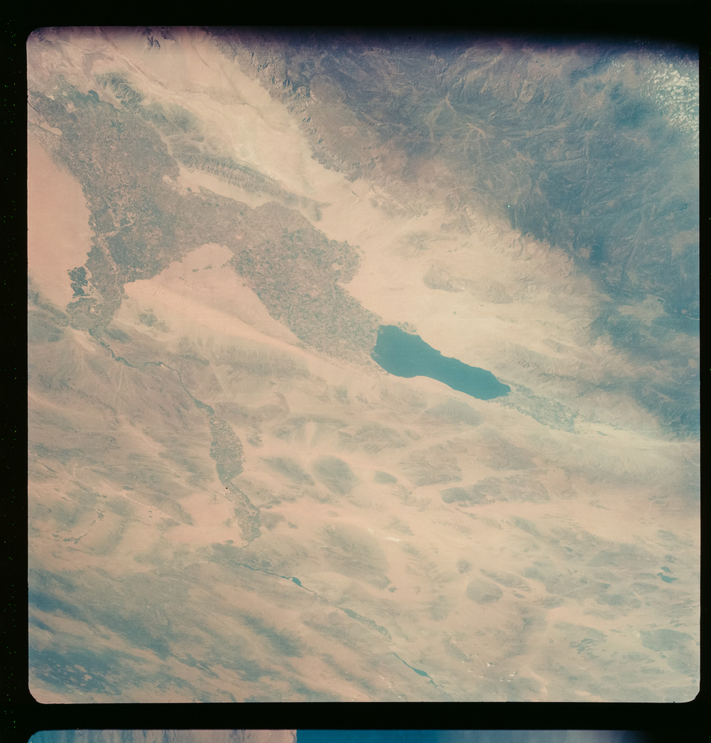 Southern California's Salton Sea formed in 1910 when an irrigation canal ruptured and partially filled a rift valley along the San Andreas fault. An astronaut used an 80mm lens to take this picture from during the 1968 Apollo 7 mission.  ( Source )