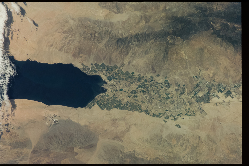 During the second ISS expedition in 2001, clouds covered the Salton Sea's southern end.  ( Source )