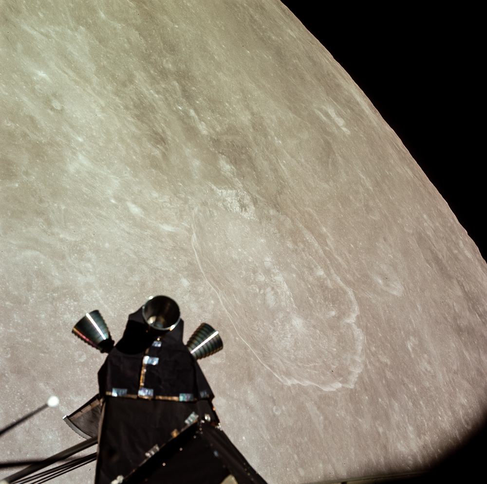 King Crater lies just to the right of the Apollo 11 Lunar Module's rocket thrusters.  ( Source )